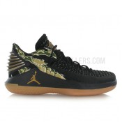 Nouvelle Air Jordan XXXII Low/metallic gold-gum yellow Noir
