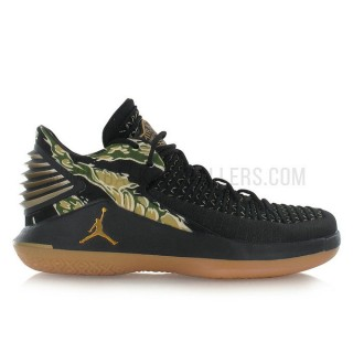 Nouvelle Air Jordan XXXII Low/metallic gold-gum yellow Noir