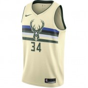 Promotion Maillot Giannis Antetokounmpo Milwaukee Bucks City Edition Swingman Beige / Brun