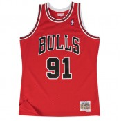 Maillot NBA Dennis Rodman Chicago Bulls 1997-98 Road Swingman Mitchell&Ness Rouge Pas Cher Marseille