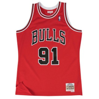 Maillot NBA Dennis Rodman Chicago Bulls 1997-98 Road Swingman Mitchell&Ness Rouge Pas Cher Marseille
