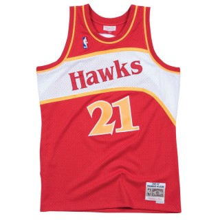 Maillot NBA Dominique Wilkins Atlanta Hawks 1986-87 Swingman Mitchell&Ness Rouge en solde
