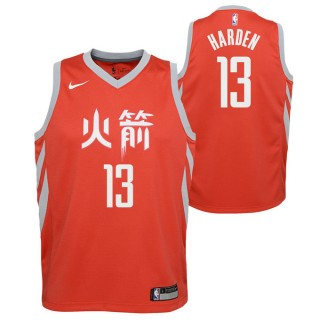 Original Maillot NBA Enfant James Harden City Edition Houston Rockets Swingman Rouge