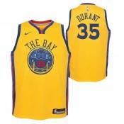 Nouvelle Collection Maillot NBA Enfant Kevin Durant City Edition GS Warriors Swingman Jaune