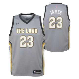 Maillot NBA Enfant LeBron James City Edition Cleveland Cavaliers Swingman Gris Site Officiel
