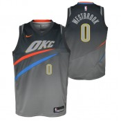 Maillot NBA Enfant Russel Westbrook City Edition OKC Thunder Swingman Gris Paris Boutique