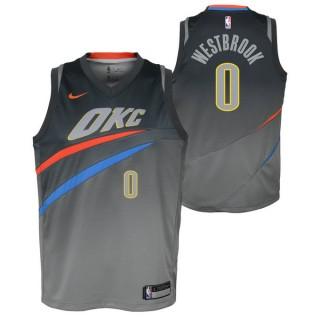 Maillot NBA Enfant Russel Westbrook City Edition OKC Thunder Swingman Gris Paris Boutique
