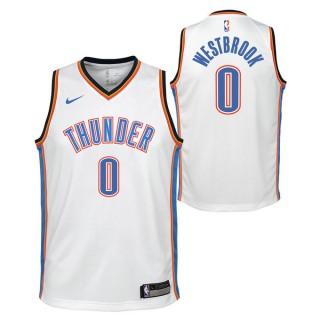 Maillot NBA Enfant Russel Westbrook OKC Thunder Swingman Association Blanc Ventes Privées