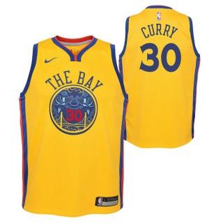 Maillot NBA Enfant Stephen Curry City Edition Warriors Swingman Jaune Remise Lyon