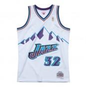 Nouvelle Maillot NBA Karl Malone Utah Jazz 1996-97 Swingman Mitchell&Ness Domicile Blanc