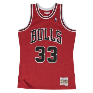 Maillot NBA Scottie Pippen Chicago Bulls 1997-98 Road Swingman Mitchell&Ness Rouge à Petit Prix