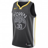 Vente Maillot Stephen Curry Golden Warriors Statement Edition Swingman Noir