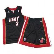 Maillot short Dwayne Wade Miami Heat adidas Noir PasCher Fr