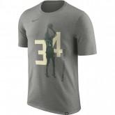 Soldes T-shirt Giannis Antetokounmpo Milwaukee Bucks Dry Gris