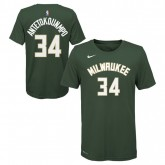 T-shirt NBA Enfant Giannis Antetokounmpo Icon Milwaukee Bucks Vert Soldes France