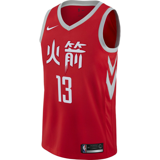 Solde Maillot James Harden City Edition Houston Rockets Swingman Rouge promo