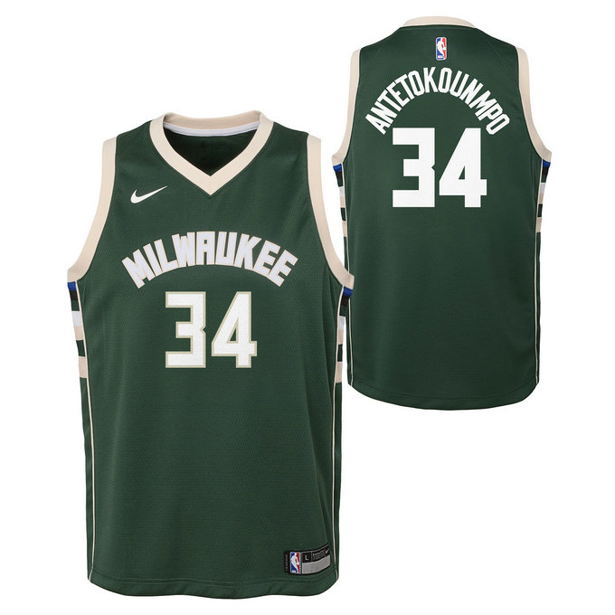 Maillot NBA Enfant Giannis Antetokounmpo Milwaukee Bucks Swingman Vert