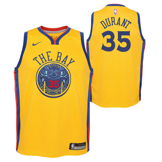 Maillot NBA Enfant Kevin Durant City Edition GS Warriors Swingman Jaune