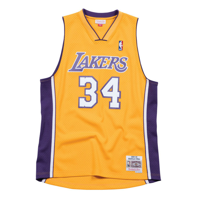 Maillot NBA Shaquille Oneal LA Lakers 1999-00 Swingman Mitchell&Ness Domicile Jaune