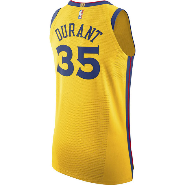 Maillot Kevin Durant City Edition Golden State Warriors Authentic Jaune