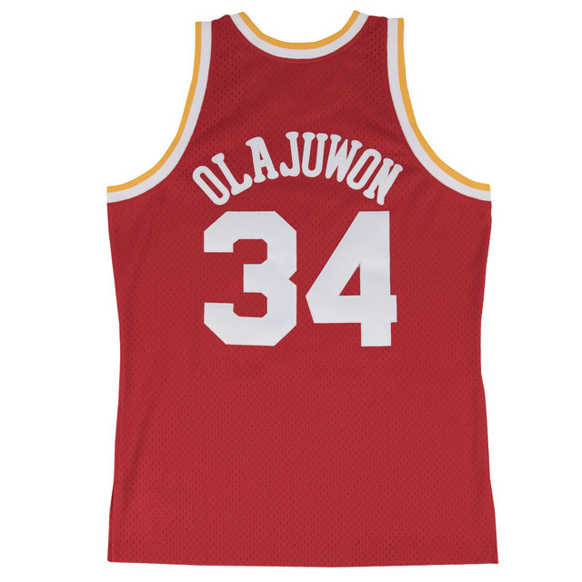 Maillot NBA Hakeem Olajuwon Houston Rockets 1993-94 Road Swingman Mitchell&Ness Rouge